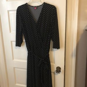 Vince Camuto 1X black white dots wrap dress